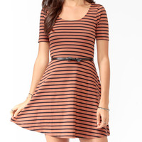 Striped Skater Dress w/ Belt
