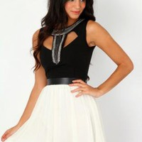 Embellished Cut Out Skater Dress In Black