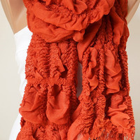 Orange, light red Ruffle Scarf from %100 coton with tassel