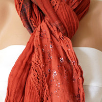Brick Red Color Scarf from %100 coton with flora desing and lace