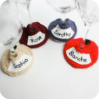 Golden Girls Wine Glass Cozy Wine Marker Wine Charm crochet embroidered funny set of 4