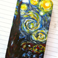 Starry Night Van Gogh iPhone 4 case Made to Order by glitzcraft