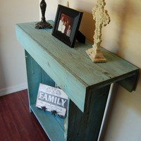 Ocean Blue Reclaimed Cedar Wall Runner Console by TRUECONNECTION