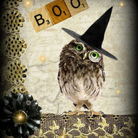 Halloween Art, Whimsical Owl Print, Halloween Decor, Autumn Owl Collage
