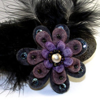 Felt Flower Feather Brooch Dark Grey/ Purple by SunflowerStudiosUK