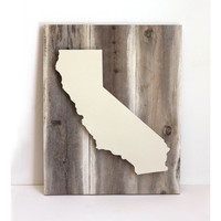 California Dreamin&#x27; Art on Reclaimed Wood - Cream - Dimensional Art