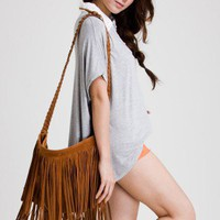 Camel Fringe Knit Strap Shoulder Bag - New Arrivals - Retro, Indie and Unique Fashion