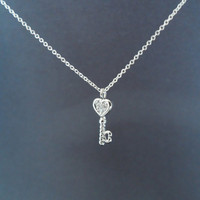 heart key pendant sterling silver necklace