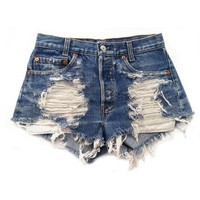 Women's Vintage Levi's Distressed Stone Dreamer Low Rise Trendy Cut-Off Shorts