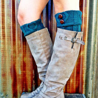 Short Leg Warmers Ivy Green Short Cable-Knit Boot Cuffs with Vintage Buttons