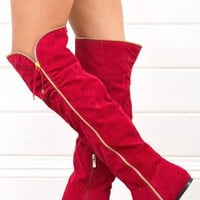 Dollhouse Envy Red Zipper Over The Knee Boots and Shop Boots at MakeMeChic.com