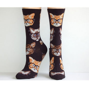 Cat in Glasses Womens Socks