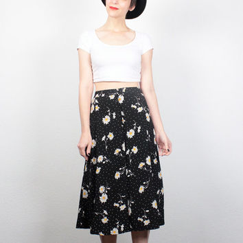 Vintage 90s Skirt Black White Yellow Daisy Print Skirt Midi Skirt 1990s Skirt Soft Grunge Skirt Daisies Ditsy Floral Skirt M Medium L Large