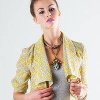 Soft Printed Woven Cropped Jacket | Lucca Couture