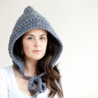 Pixie Hood - Crochet Hood Hat - Chunky Crochet Hood in Slate Grey/Gray - The Hood