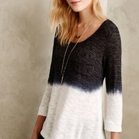 Dip-Dyed Cowl Back Tee by Language Black & White