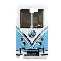 Samsung Galaxy Note Hard-Shell Case, Baby Blue VW Camper Van (Printed on Back and Side)