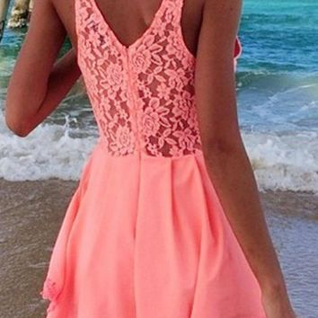 Zeagoo® Womens Cut Out Lace Playsuit Shorts UV Pink Party Evening Dress