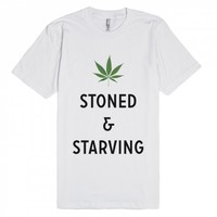 Stoned And Starving-Unisex White T-Shirt