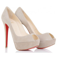 Christian Louboutin Banana 140 Suede Peep Toes [20110801001] - &amp;#36;205.00 : Christian Louboutin Shoes On Sale, Enjoy 75% Off The Shoes Outlet!