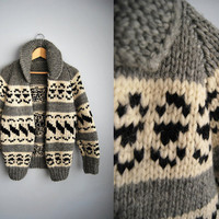 The Cozy Cowichan -  Vintage 70s Grey Cowichan Knit Sweater Jacket