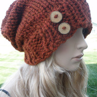 Burnt Orange Rust Boho Slouchy Hand Knit Oversized Ribbed Woodsy Beanie Hat With Wood Buttons