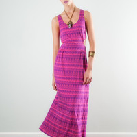 Native Print Cut-out Maxi Dress | Lucca Couture