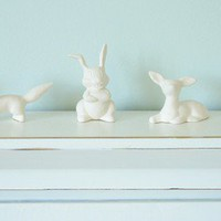 Porcelain Woodland Animals Tiny Unglazed White by TheLittleOwlery