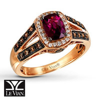 Rhodolite Garnet Ring 1/3 ct tw Diamonds  14K Gold