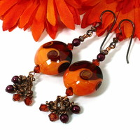 Orange Spice Lampwork Swarovski Crystal BOHO Copper Dangle Earrings