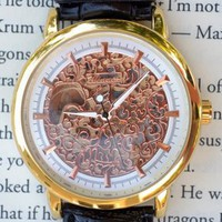 Rose Skeleton Wind-Up Wrist Watch
