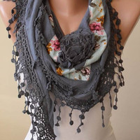 Triangular - Gray Scarf with Flowered Fabric and Trim Edge - Autumn Scarf