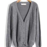 Gray Fluffy V Neckline Cardigan