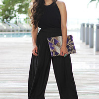 Black Wide Leg Pant - Furor Moda - Tops - Dresses - Jackets - Vintage