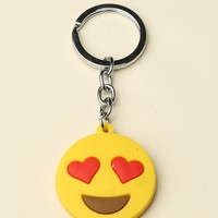 Heart Eyes Face Keychain - Brandy Melville