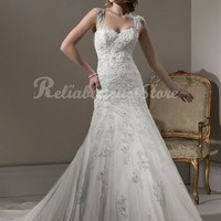 Elegant A-line Straps Floor Length Lace Beach Wedding Dress-$231.95-ReliableTrustStore.com
