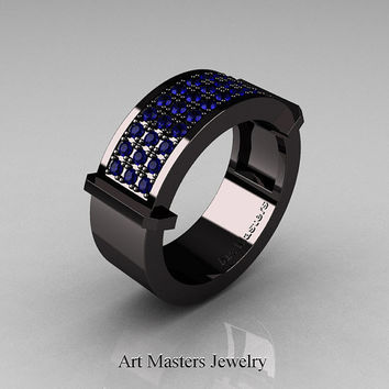 Gentlemens Modern 14K Black Gold 33 Stone Blue Sapphire Ring MR184-14KBGBS