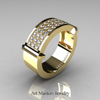 Gentlemens Modern 14K Yellow Gold 33 Stone Diamond Ring MR184-14KYGD