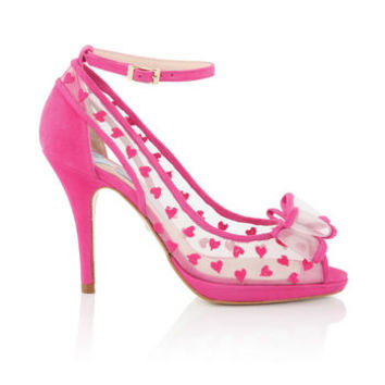 Alexis Heart Embroidered Peep Toe Shoes