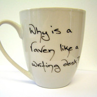 Alice in Wonderland Raven Coffee Cup Hand Inked Mug