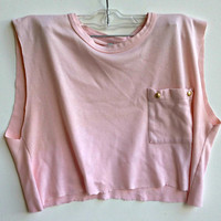 Pink Cropped Mussel Tee Studded Crop Top Shirt Size Small