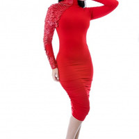 #Red Scales Sleeve Dress+