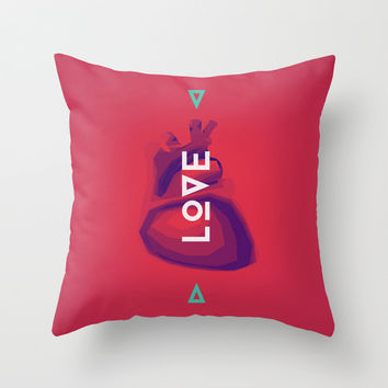 Love Heart Throw Pillow by Javier Martinez