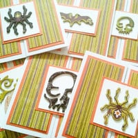Six Halloween Cards Green and Orange