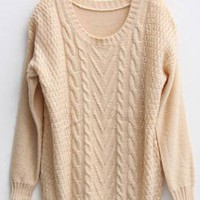 Twist Round Neck Beige Sweater  S002421