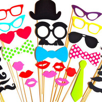 SALE - Perfect Photo Booth Props - 32 piece prop set - Birthdays, Weddings, Parties - Photobooth Props