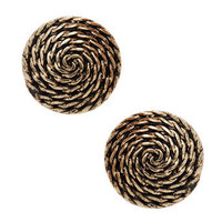 Gold rope disc stud - Earrings - Jewellery - Accessories - Dorothy Perkins