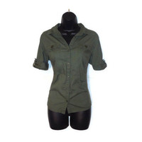 Olive Green Military Inspired Button Up Short Sleeved Blouse Top with Camouflage Bow Womens Medium Large