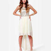 Lovely Cream Dress - Gold Dress - High-Low Dress