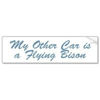 My Other Car is a Flying Bison Bumper Sticker from Zazzle.com